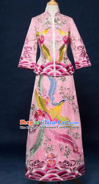 Traditional Chinese Embroidered Wedding Dress Ancient Bride Pink Xiu He Costume for Women