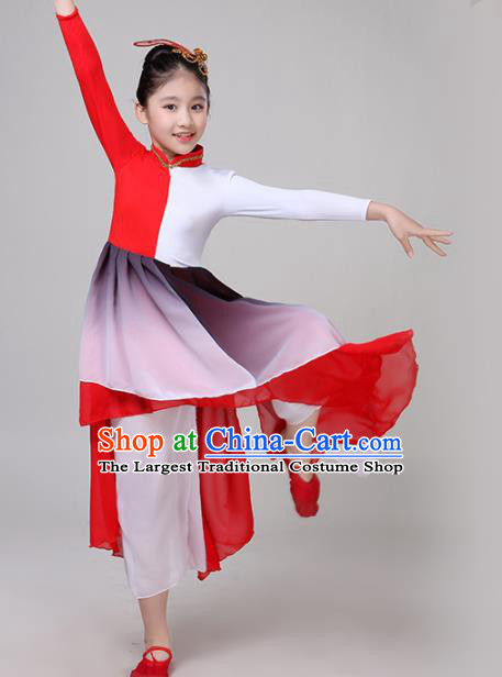 Chinese Traditional Folk Dance Costume Classical Dance Group Dance Red Dress for Kids