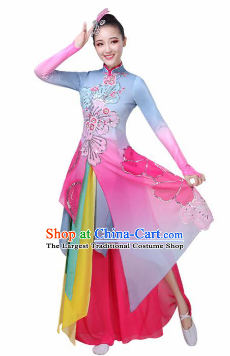 Chinese Traditional Lotus Dance Rosy Costume Classical Dance Group Dance Dress for Women