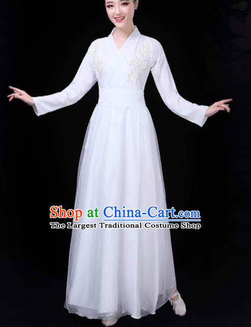 Chinese Traditional Umbrella Dance White Costume Classical Dance Group Dance Dress for Women