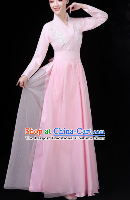 Chinese Traditional Umbrella Dance Pink Costume Classical Dance Group Dance Dress for Women