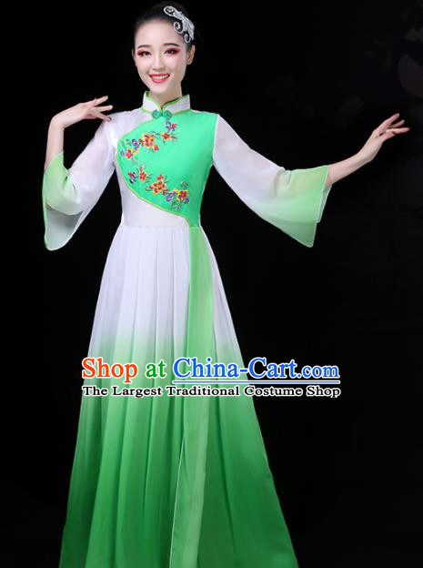 Chinese Traditional Umbrella Dance Green Costume Classical Dance Group Dance Dress for Women