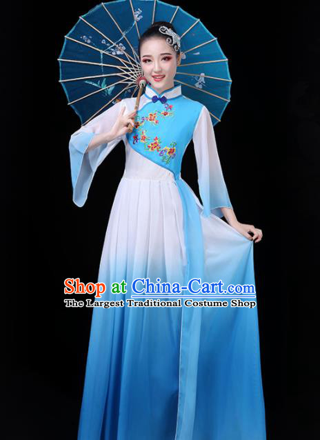 Chinese Traditional Umbrella Dance Blue Costume Classical Dance Group Dance Dress for Women