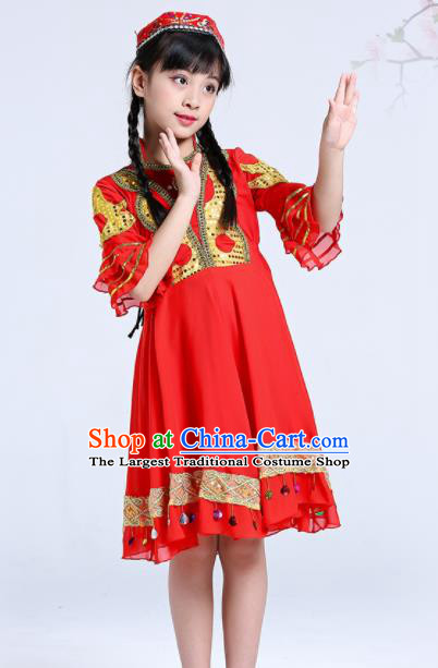 Chinese Traditional Ethnic Folk Dance Costume Classical Dance Group Dance Red Dress for Kids