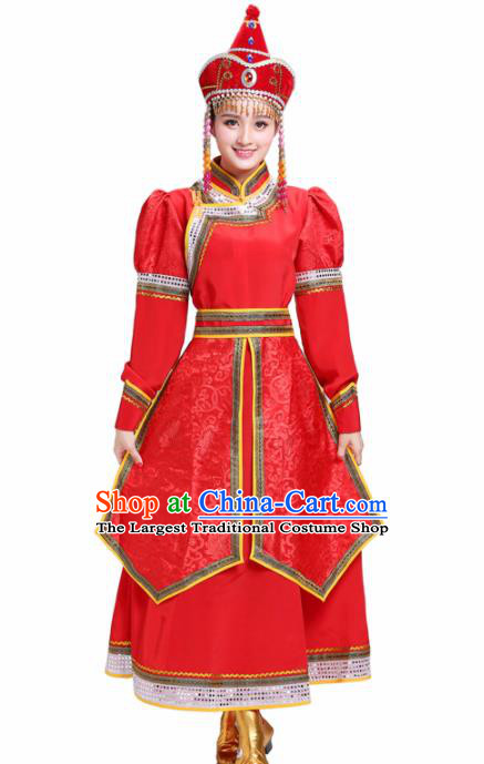 Chinese Traditional Mongolian Princess Folk Dance Red Dress Mongol Nationality Ethnic Costume for Women