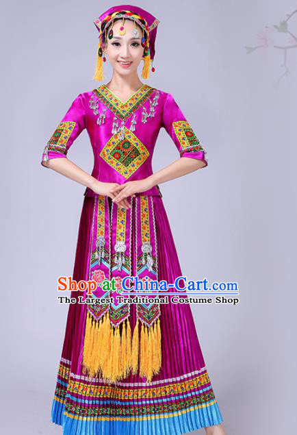 Chinese Traditional Ethnic Folk Dance Costume Yi Nationality Wedding Purple Dress for Women
