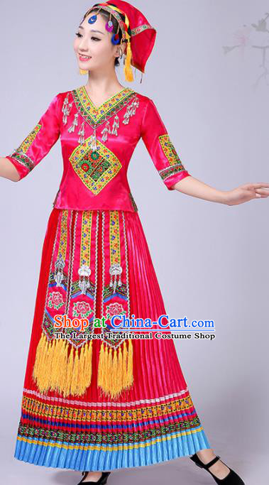 Chinese Traditional Ethnic Folk Dance Costume Yi Nationality Wedding Rosy Dress for Women