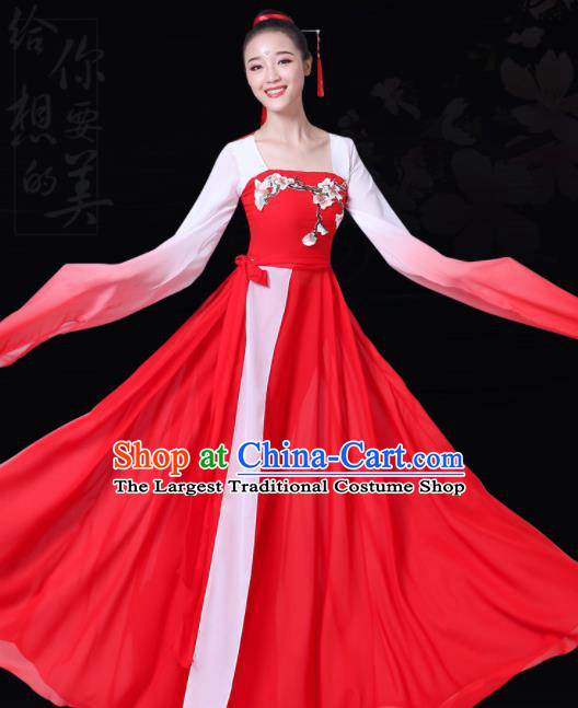 Chinese Traditional Lotus Dance Red Costume Classical Dance Group Dance Dress for Women