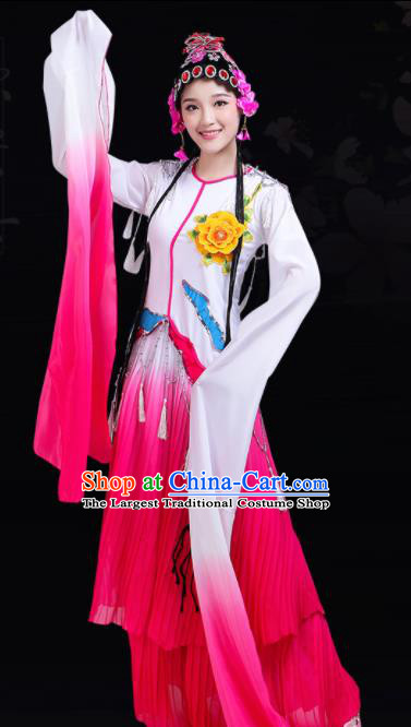 Chinese Traditional Beijing Opera Rosy Costume Classical Dance Group Dance Dress for Women