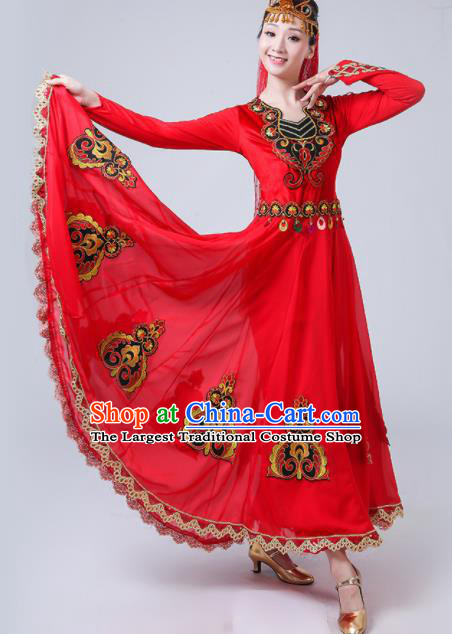 Chinese Traditional Uigurian Ethnic Folk Dance Costume Uyghur Nationality Dance Red Dress for Women