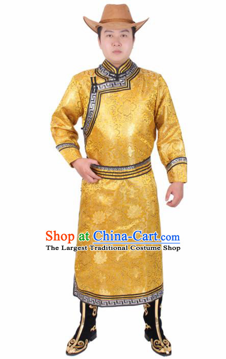 Chinese Traditional Mongol Ethnic Costume Nationality Golden Brocade Mongolian Robe for Men