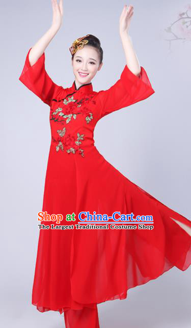 Chinese Traditional Umbrella Dance Red Costume Classical Dance Group Dance Dress for Women
