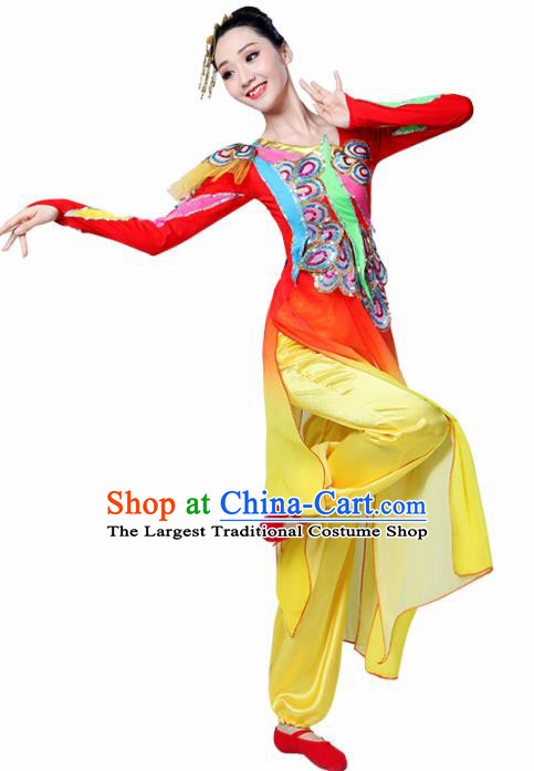 Chinese Traditional Stage Performance Red Costume Classical Dance Dress for Women