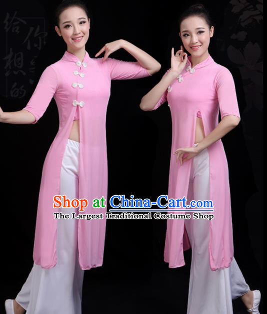 Chinese Traditional Fan Dance Pink Costume Classical Dance Group Dance Dress for Women