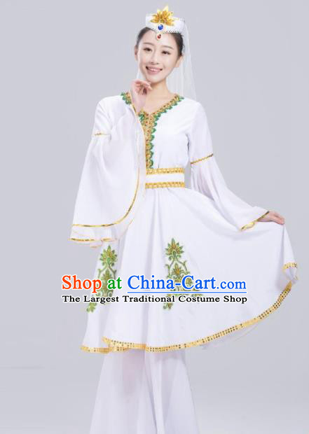 Chinese Traditional Uigurian Ethnic Folk Dance Costume Uyghur Nationality Dance White Dress for Women
