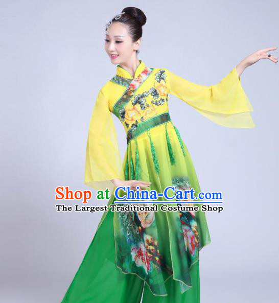 Chinese Traditional Fan Dance Green Costume Folk Dance Stage Performance Yangko Dance Dress for Women