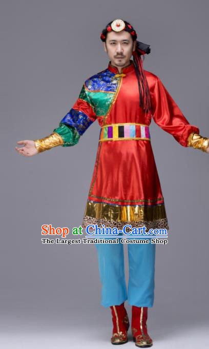 Chinese Traditional Tibetan Ethnic Folk Dance Costume Zang Nationality Dance Red Clothing for Men