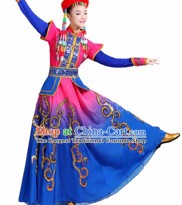 Chinese Traditional Mongolion Ethnic Folk Dance Costume Mongol Nationality Dance Blue Dress for Women