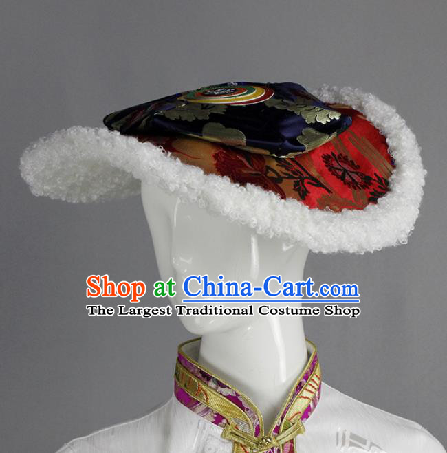 Chinese Traditional Tibetan Ethnic Hair Accessories Zang Nationality Hat for Women