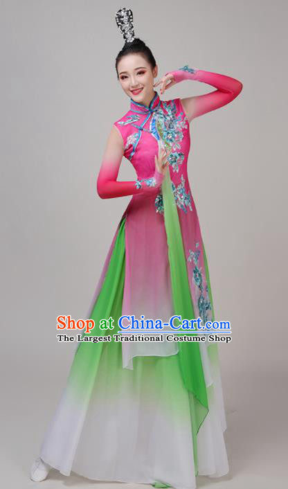 Chinese Traditional Stage Performance Umbrella Dance Pink Costume Classical Dance Group Dance Dress for Women