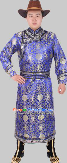 Chinese Traditional Mongol Ethnic Costume Nationality Royalblue Brocade Mongolian Robe for Men
