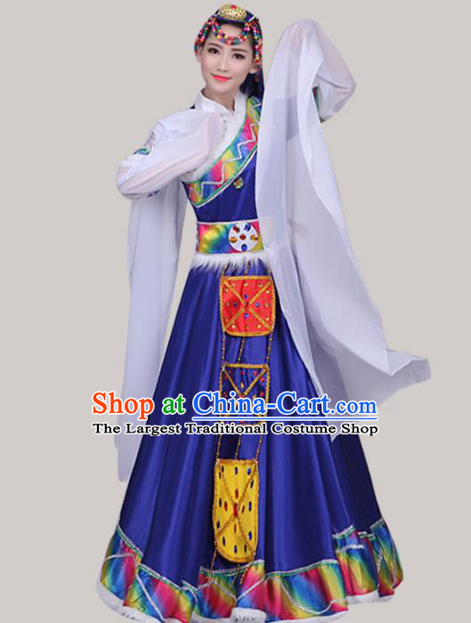 Chinese Traditional Tibetan Ethnic Folk Dance Costume Zang Nationality Dance Royalblue Dress for Women