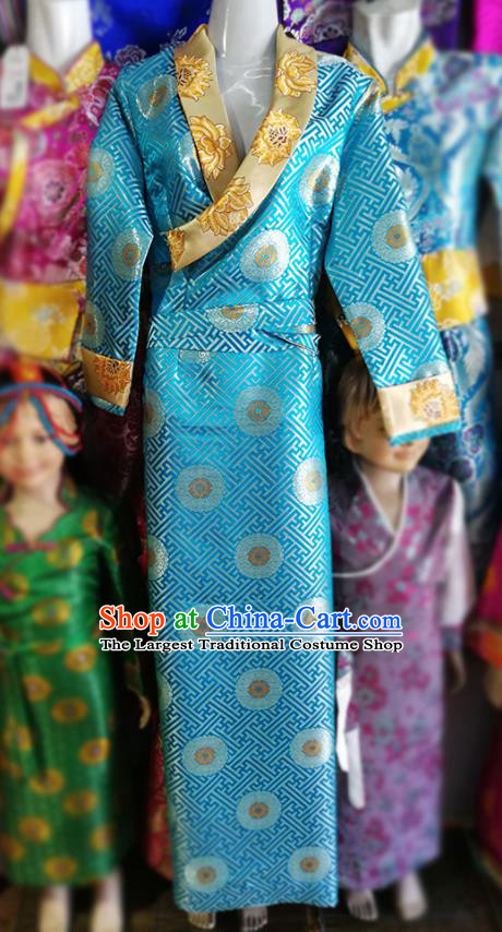 Chinese Traditional Tibetan Heishui Dance Blue Dress Zang Nationality Ethnic Costume for Women