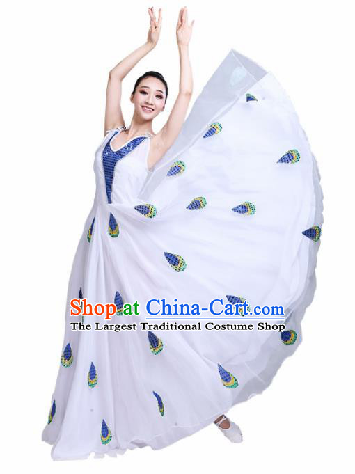 Chinese Traditional Ethnic Folk Dance Costume Dai Nationality Peacock Dance White Dress for Women