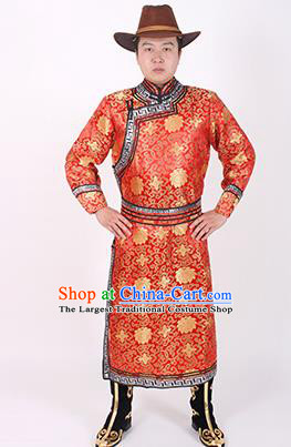 Chinese Traditional Mongol Ethnic Costume Nationality Red Brocade Mongolian Robe for Men