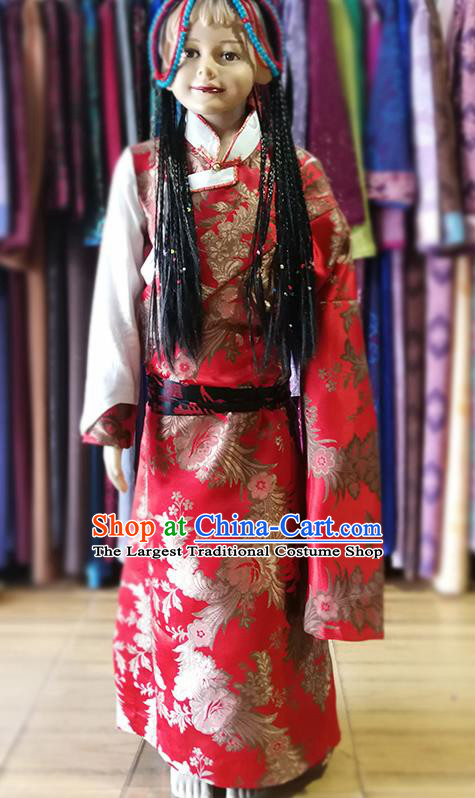 Chinese Traditional Tibetan Kham Red Dress Zang Nationality Heishui Dance Ethnic Costume for Kids