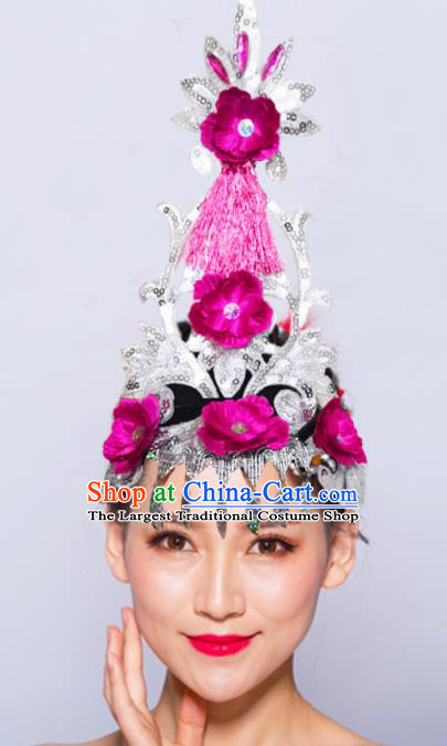 Chinese Traditional Folk Dance Hair Accessories Stage Performance Yangko Dance Rosy Flowers Headwear for Women