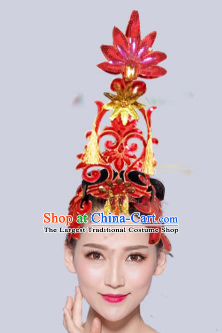 Chinese Traditional Folk Dance Hair Accessories Stage Performance Yangko Dance Red Paillette Headwear for Women