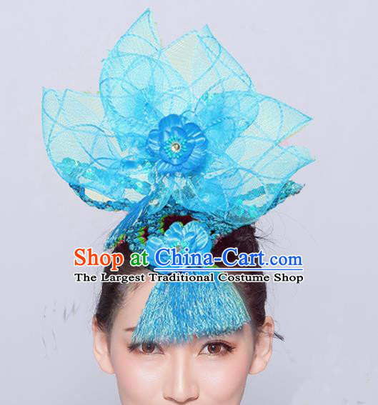 Chinese Traditional Folk Dance Hair Accessories Stage Performance Yangko Dance Blue Veil Headwear for Women