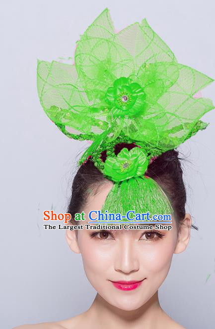 Chinese Traditional Folk Dance Hair Accessories Stage Performance Yangko Dance Green Veil Headwear for Women