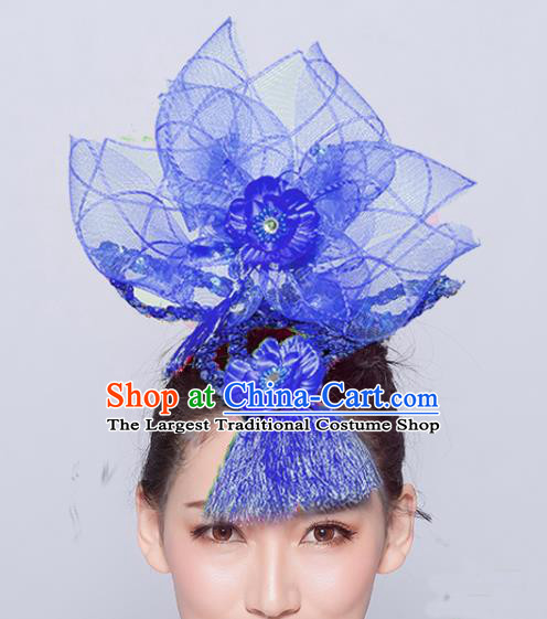 Chinese Traditional Folk Dance Hair Accessories Stage Performance Yangko Dance Deep Blue Veil Headwear for Women