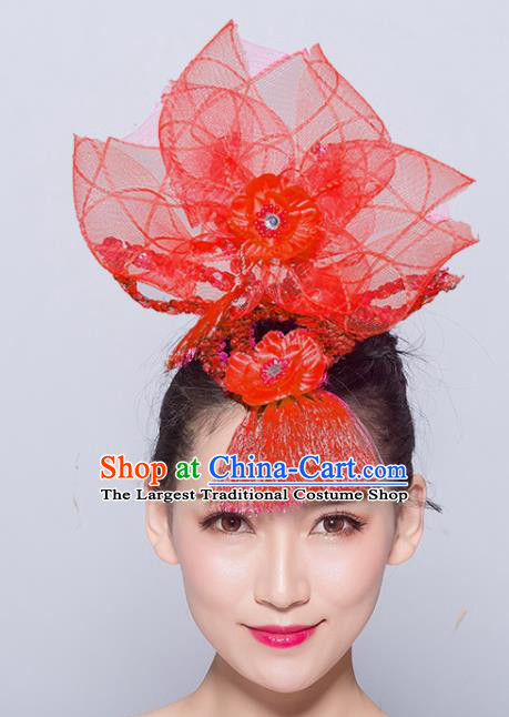 Chinese Traditional Folk Dance Hair Accessories Stage Performance Yangko Dance Red Veil Headwear for Women