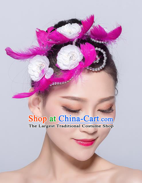 Chinese Traditional Folk Dance Hair Accessories Stage Performance Yangko Dance Rosy Feather Hair Stick for Women