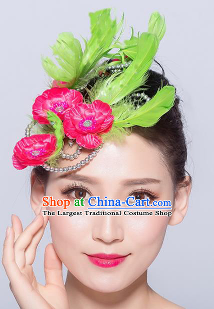 Chinese Traditional Folk Dance Hair Accessories Stage Performance Yangko Dance Green Feather Hair Stick for Women