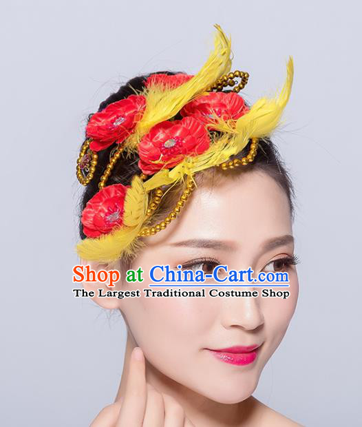 Chinese Traditional Folk Dance Hair Accessories Stage Performance Yangko Dance Yellow Feather Hair Stick for Women