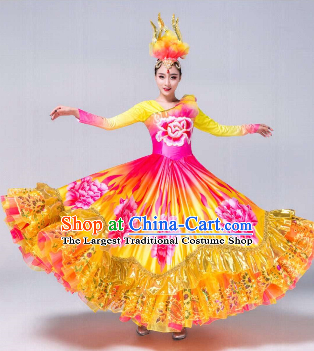 Free Shipping Brand New Traditional Chinese Dance Costumes Complete Set