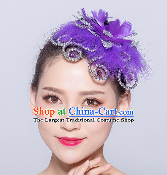 Chinese Traditional Folk Dance Purple Feather Hair Accessories Stage Performance Yangko Dance Hair Stick for Women