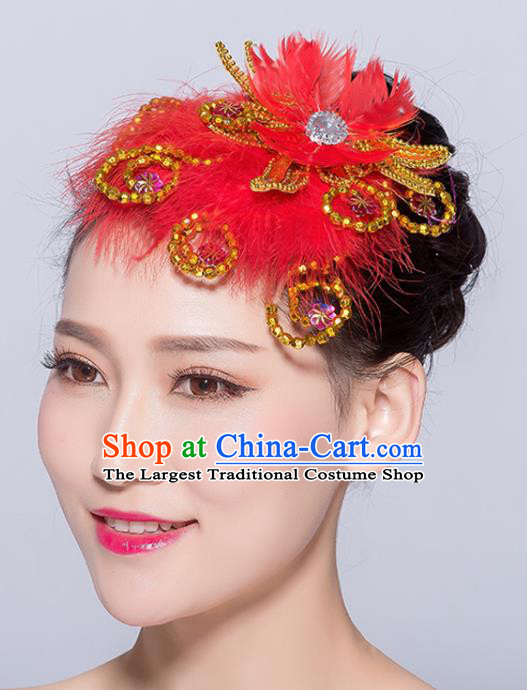 Chinese Traditional Folk Dance Red Feather Hair Accessories Stage Performance Yangko Dance Hair Stick for Women