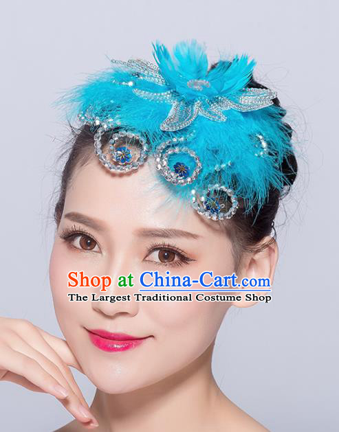Chinese Traditional Folk Dance Blue Feather Hair Accessories Stage Performance Yangko Dance Hair Stick for Women