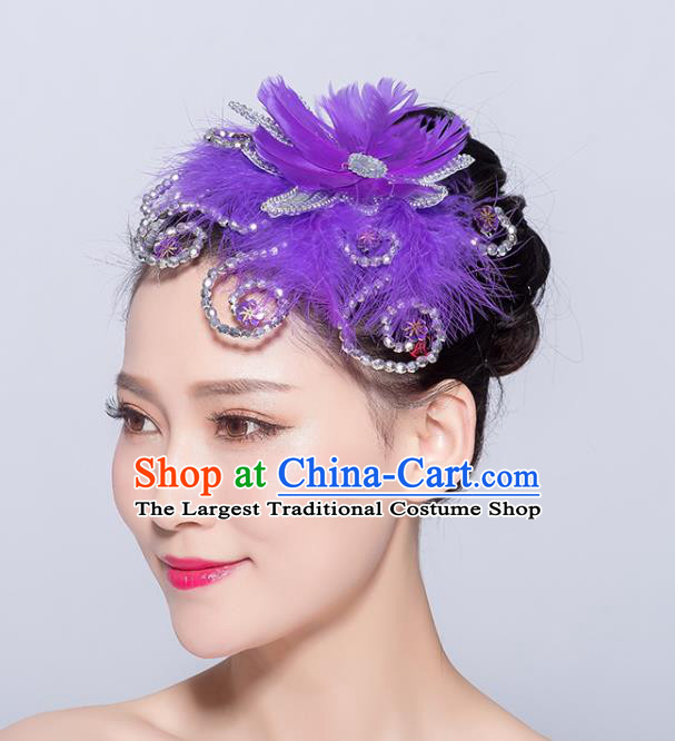 Chinese Traditional Folk Dance Purple Feather Hair Stick Stage Performance Yangko Dance Hair Accessories for Women