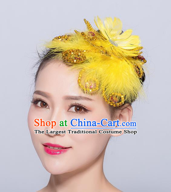 Chinese Traditional Folk Dance Yellow Feather Hair Stick Stage Performance Yangko Dance Hair Accessories for Women