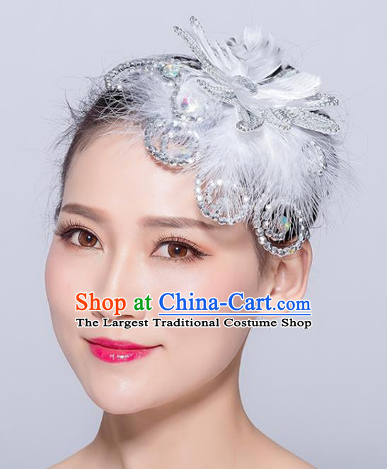 Chinese Traditional Folk Dance White Feather Hair Stick Stage Performance Yangko Dance Hair Accessories for Women