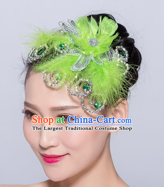 Chinese Traditional Folk Dance Green Feather Hair Stick Stage Performance Yangko Dance Hair Accessories for Women