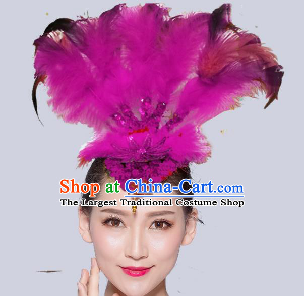 Chinese Traditional National Folk Dance Rosy Feather Hair Stick Yangko Dance Hair Accessories for Women