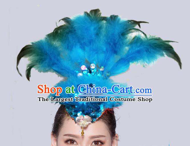 Chinese Traditional National Folk Dance Blue Feather Hair Stick Yangko Dance Hair Accessories for Women