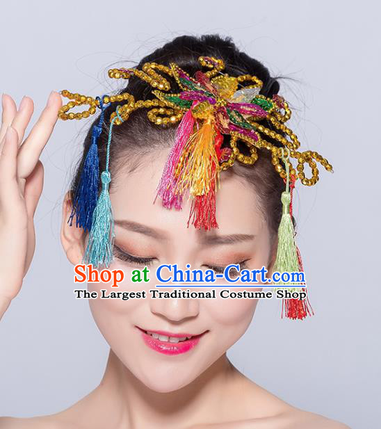 Chinese Traditional Yangko Dance Tassel Hair Stick National Folk Dance Hair Accessories for Women